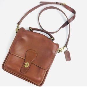 Vintage Coach NYC British Tan Leather Station Bag
